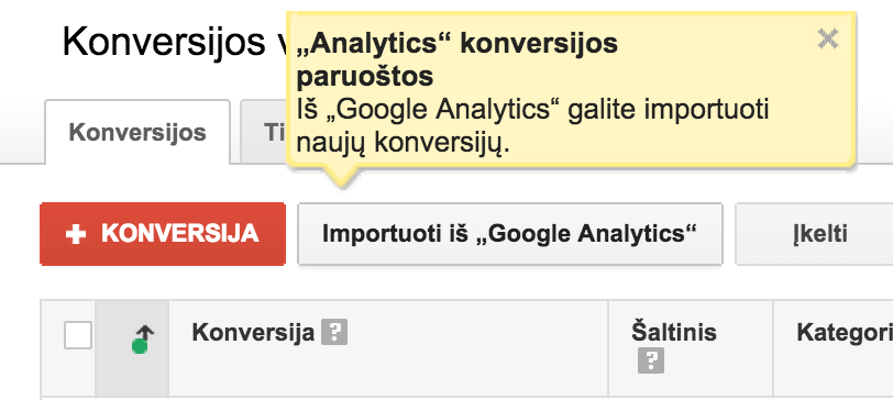 Golcas.lt importavimas is analytics