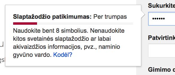 Gmail slaptazodis