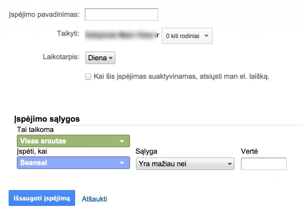 Google analytics ispejimo kurimas