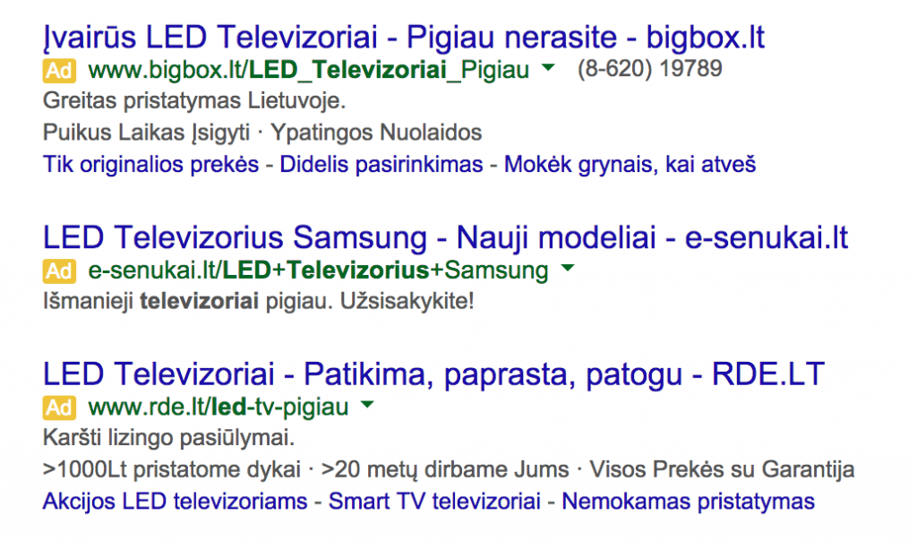 led tv adwords reklamos