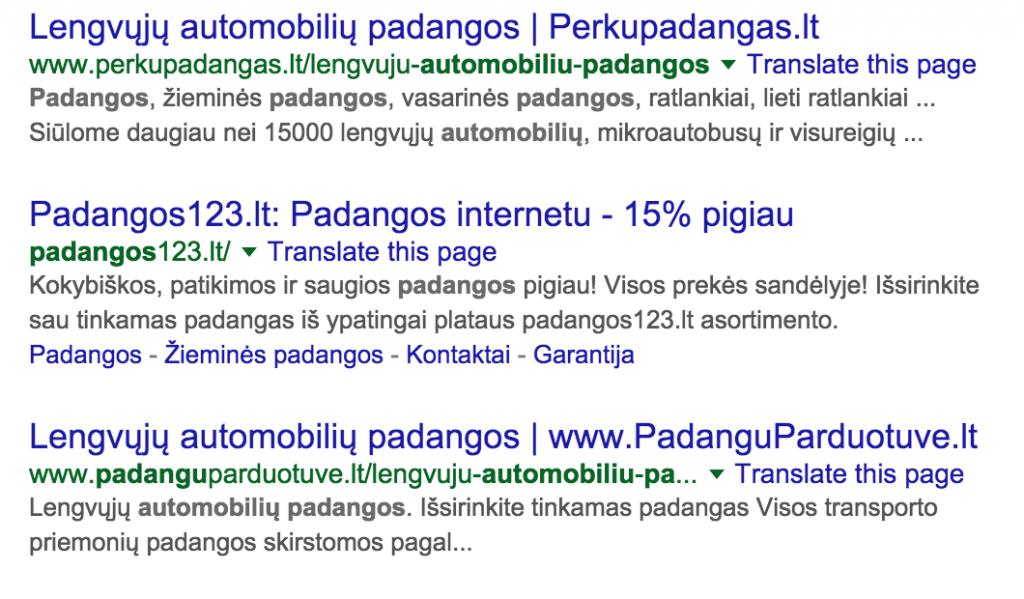google rezultatai